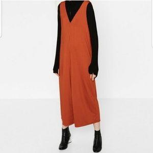 Zara Burnt Orange Striped Ribbed Wide Leg Jumpsuit